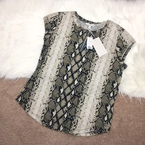 Joie snake print tee shirt black/cream